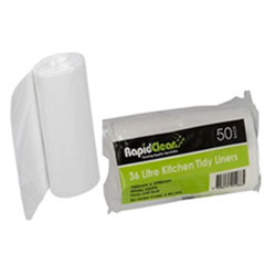 Rapid clean kitchen tidy white - 50/roll - 36 litres thumbnail