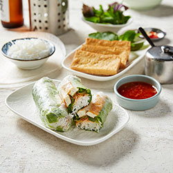 Salt and pepper tofu rice paper roll thumbnail