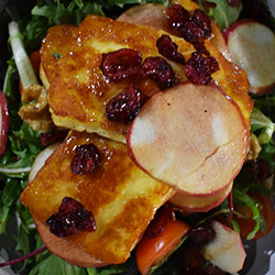 Grilled haloumi and red apple salad thumbnail