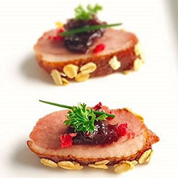 Smoked duck with sweet shiraz shallots and toasted oats thumbnail