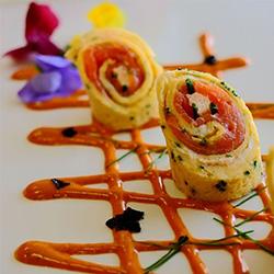 Creamy chive smoked salmon roulade with tandoori yogurt thumbnail