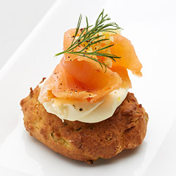 Corn fritters with creme fraiche and smoked salmon thumbnail