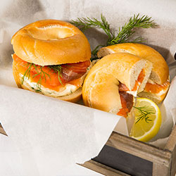 Smoked salmon and cream cheese bagel thumbnail