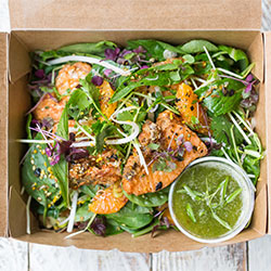 Crispy salmon and peashoot salad - individual box thumbnail