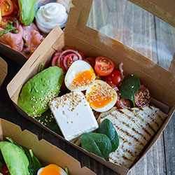Greek feta and miche crisp bread breakfast box thumbnail