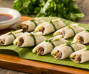 Peking duck wrap with spring onion and cucumber  thumbnail