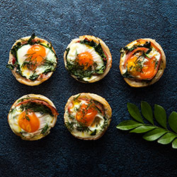 Bacon, egg, herb and spinach tart thumbnail