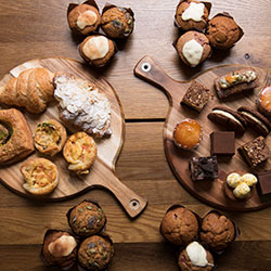 Pastries, yoghurt and fruit platter thumbnail