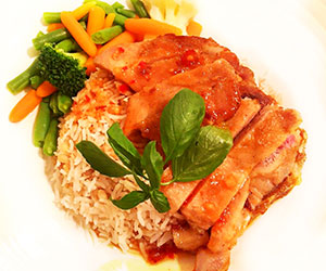 Sweet chilli plum pork chop lunch box thumbnail