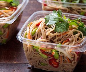 Soba noodles with edamame beans, radish, mushrooms thumbnail