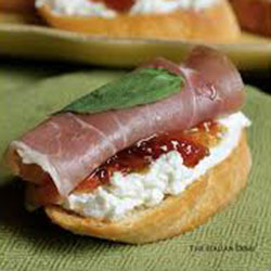 Crostinis with aged prosciutto, fig, jam and buffalo ricotta thumbnail