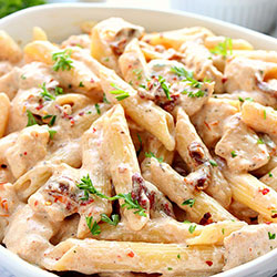 Creamy chicken and semi dried tomato penne thumbnail