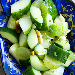Cucumber salad with pistachio, grapes and mint dressing thumbnail