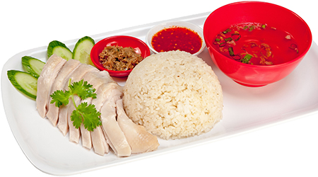 Hainanese chicken with steamed rice thumbnail