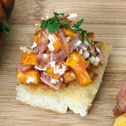 Sweet potato, ricotta and bacon bruschetta thumbnail