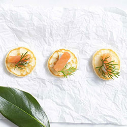 Tasmanian smoked salmon on blini thumbnail
