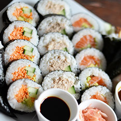 Cooked tuna sushi rolls thumbnail