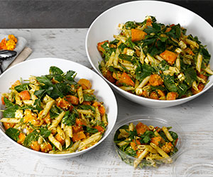 Pumpkin, pesto and pine nut pasta salad thumbnail