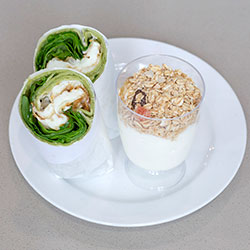 Breakfast wrap, yoghurt cup and Danish package thumbnail