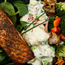 Salmon fillet, mushroom salad, potato salad and sweets package thumbnail