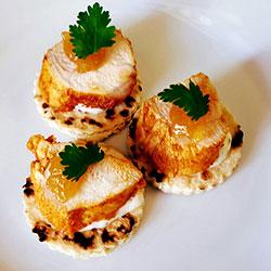 Tandoori chicken on naan rounds thumbnail