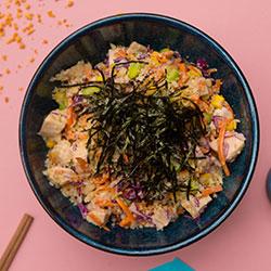 Miso tahini poached chicken poke bowl thumbnail