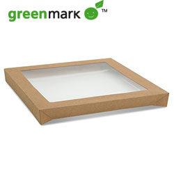 Square catering tray lid - centred transparent thumbnail