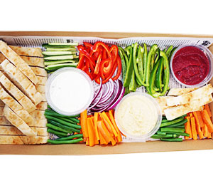 Dips and vegetables platters thumbnail