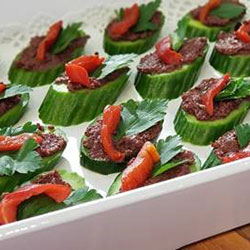 Vegan olive and cuke canape thumbnail