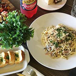 Pasta, garlic bread and soft drink thumbnail