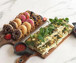 Sugary donuts and savoury frittata box thumbnail