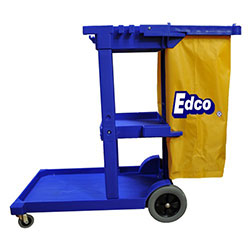 Janitor cleaning cart - blue w/yellow bag - EDCO thumbnail