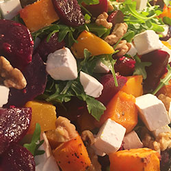 Baby beetroot, goat cheese and pumpkin salad thumbnail