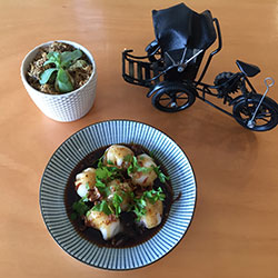 Prawn dumplings in mild chilli oil thumbnail