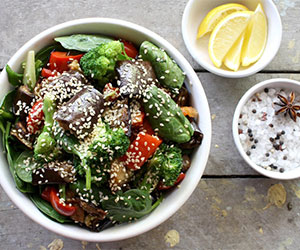 Japanese eggplant, broccoli and peppers thumbnail