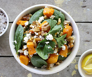 Roast pumpkin, spinach and walnut thumbnail
