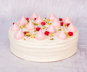 Pistachio and rosewater mousse cake thumbnail