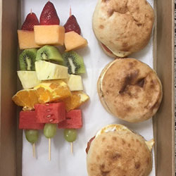 Breakfast roll and fruit skewer thumbnail