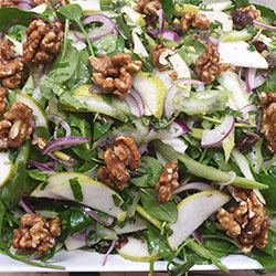 Pear and candied walnut salad thumbnail