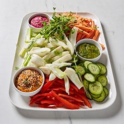 Veggie sticks and dips platter thumbnail