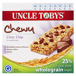 Uncle Toby's Muesli Bars Choc Chip - 185g thumbnail