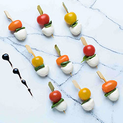 Heirloom baby tomato, Basil,and bocconcini skewer - mini thumbnail