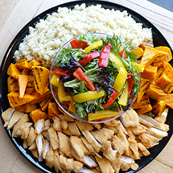 Almond crumbed chicken power bowl thumbnail